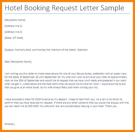 Booking Request Letter Sle 5 Hotel Booking Email Sle Appeal Leter