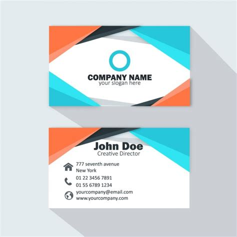 free orange and blue business card templates orange and light blue business card vector free