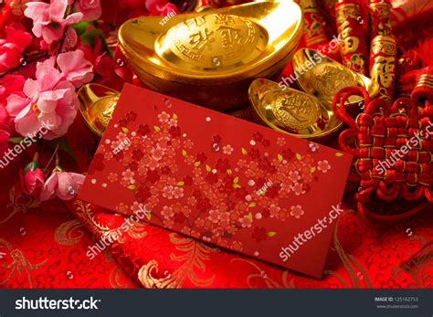 new year ang pow tradition new year festival decorations ang stock photo
