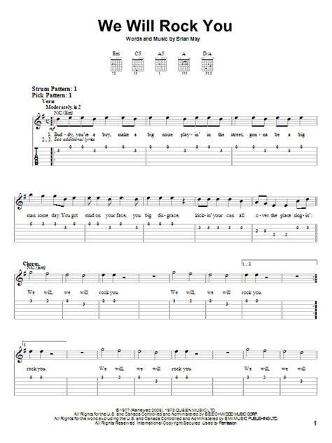 song tab we will rock you sheet direct