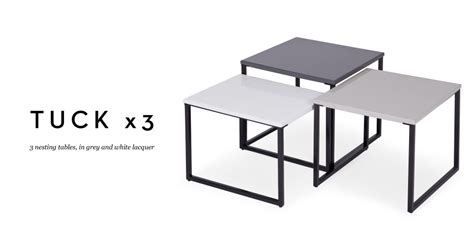 Three Tuck Nesting Tables in Grey and White Lacquer Review   Designer Gaff UK