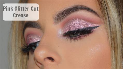 light pink glitter eyeshadow pink glitter cut crease makeup tutorial youtube