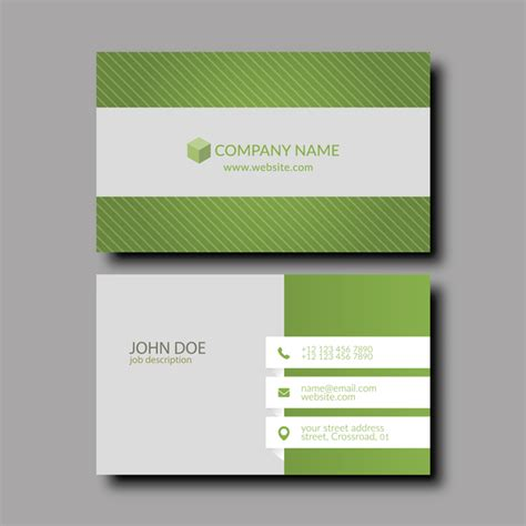 Green Business Card Template Vector by Green With White Business Card Template Vector Free