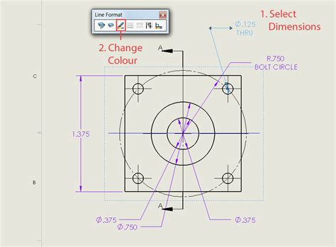 solidworks linear pattern vary sketch how to change a solidworks drawing dimension colour