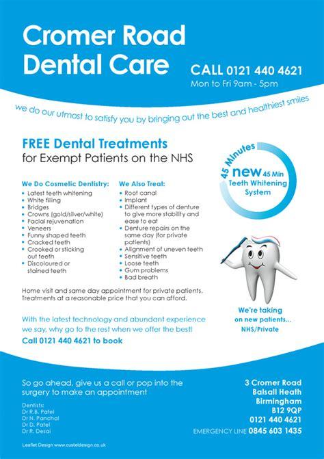 layout of patient information leaflet cromer road dental care leaflet design custel design