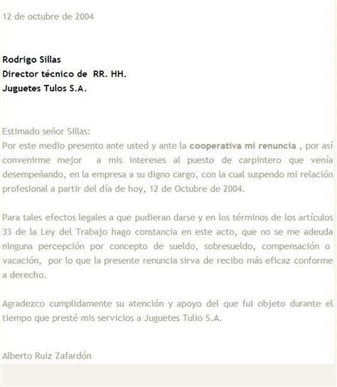 Carta De Renuncia Ejemplo Ecuador modelos de cartas de renuncia