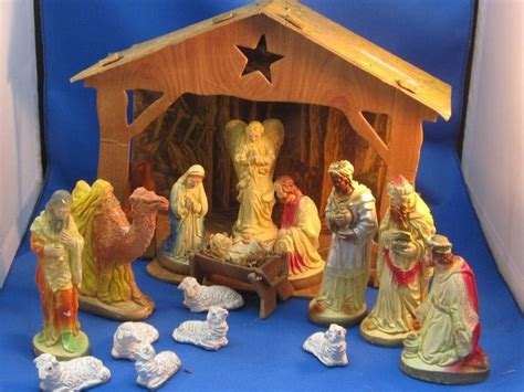 vintage old chalkware nativity set w cardboard manger