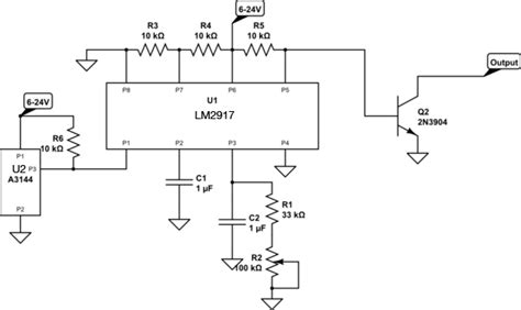 why does transistor get capacitor why isn t this lm2917 circuit working to turn a transistor electrical
