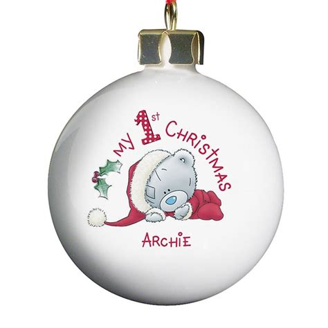 personalised baby s first christmas bauble by hope and