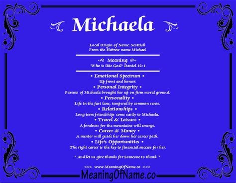 Meaning Of michaela meaning of name