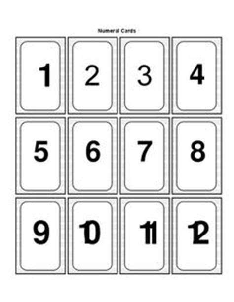 Number Cards 0 9 Template by Numeral Cards 1 12 Printables Template For Pre K 2nd