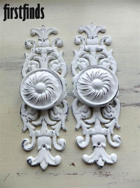 2 large disc knobs giant ornate plates furniture by