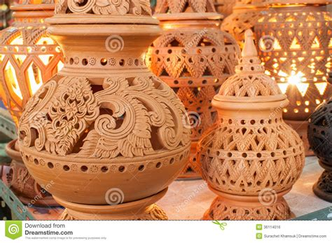 picture designs beautiful thai style designs on pottery royalty free stock