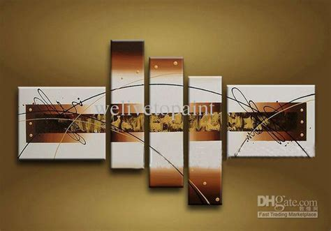 High End Wall Decor Framed 5 Panels High End Wall Gold Abstract