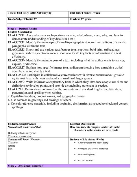 second grade lesson plan template ubd template reading lesson plan