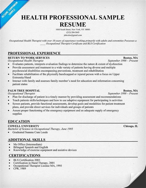 Resume Exles Professionals Health Professional Sle Resume Http Resumecompanion Health Career Resume Sles