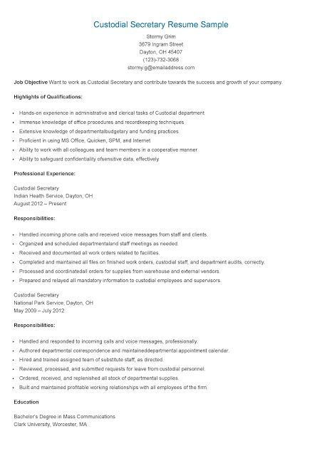 resume sles custodial resume sle