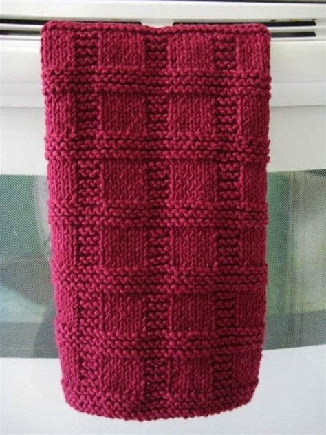 knitted tea towel pattern handknit towel placemat burgundy