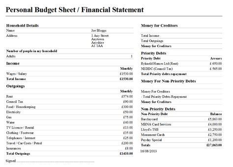 budget statement template sle dmp east derbyshire citizens advice bureau