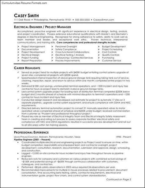engineering resume templates word free sles