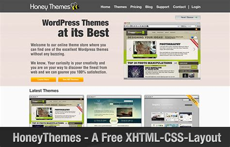 layout xhtml css honeythemes a free xhtml css layout for online theme shop