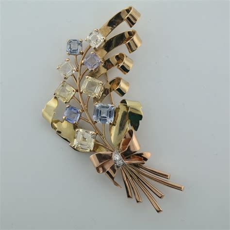 estate jewelry for sale vintage jewelry antique 14k yellow rose gold retro sapphire brooch attos