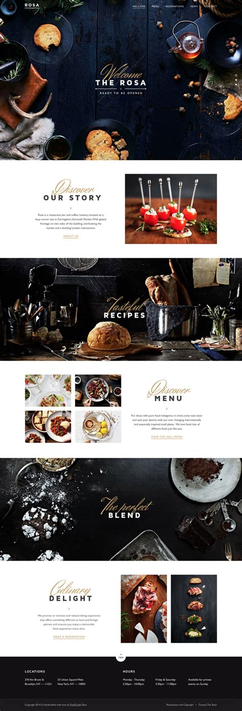 restaurant website layout design 20 website concepts with stunning full page designs
