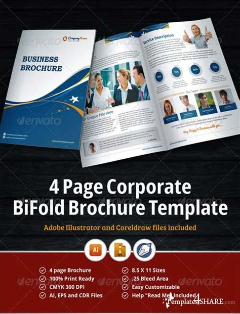4 page brochure template graphicriver 4 page corporate bifold brochure template