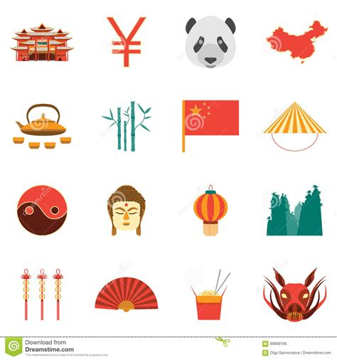 chinese design elements vector cartoon chinese culture and tourism colorful icons set