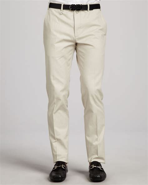 light cotton pants ferragamo cotton gabardine pants light khaki in beige for