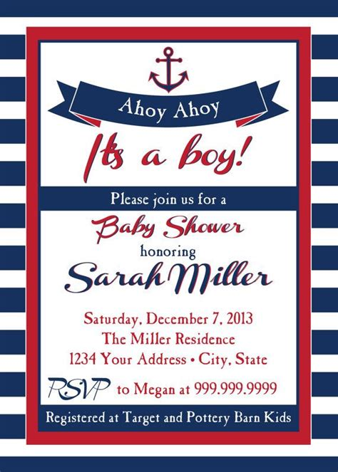 nautical baby shower invitations templates nautical baby shower invitation ahoy ahoy nautical baby