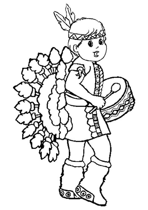 thanksgiving indian coloring page little red indian girl thanksgiving coloring pages