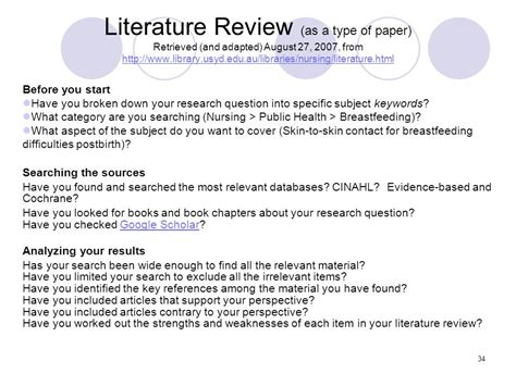 Literature Review Definition Nursing by Strategies For Nursing Students Ppt