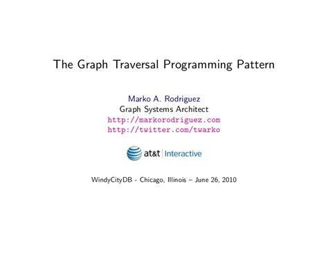 visitor pattern graph traversal the graph traversal programming pattern