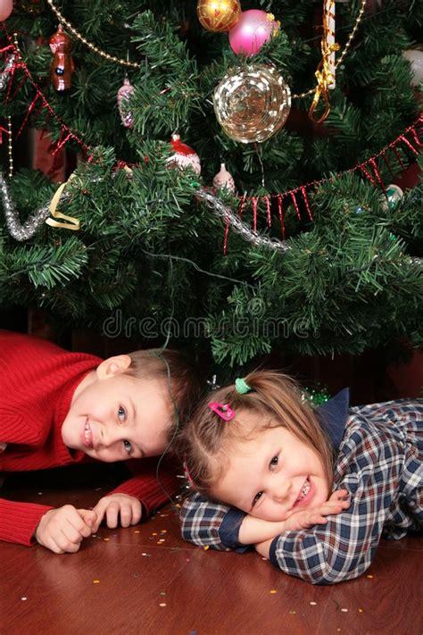 child and petprof xmas tree children tree stock image image 4485031
