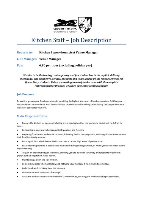 Resume Sle Kitchen Staff Description For Kitchen Supervisor 28 Images 50 Culinary Arts Resume Sle Resume Objective