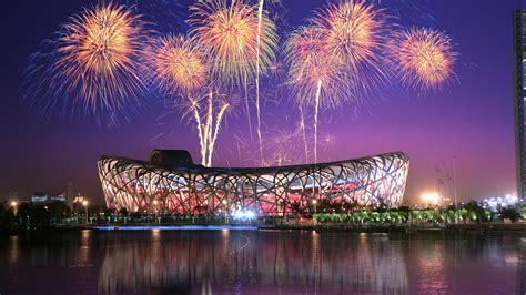 wallpaper birds nest beijing national stadium fireworks