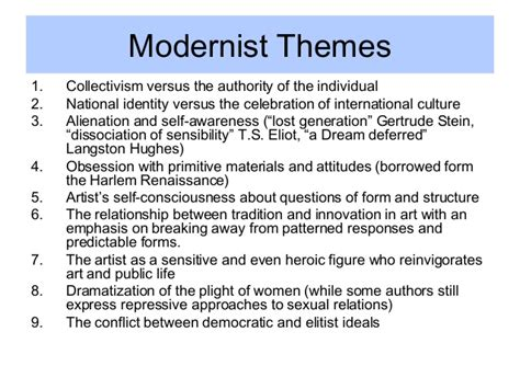 themes modernism literature modernism overview