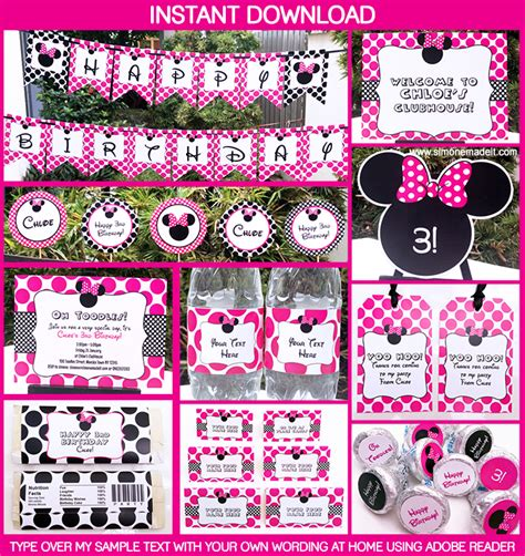 printable minnie mouse party decorations minnie mouse printable birthday party collection