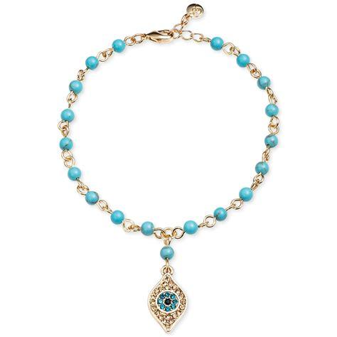 rosary bead bracelet roy goldtone evil eye charm turquoise bead