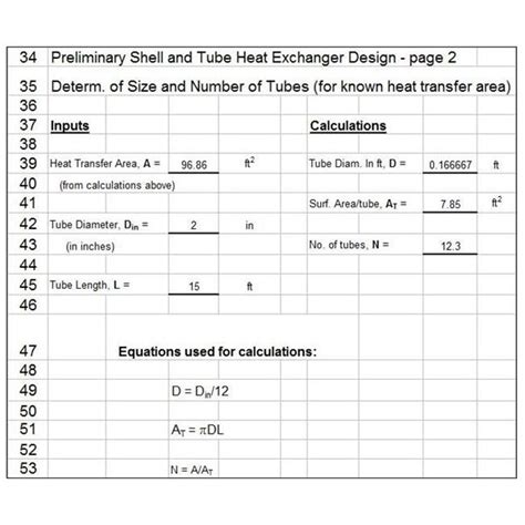 design formula heat exchanger calculations and design with excel