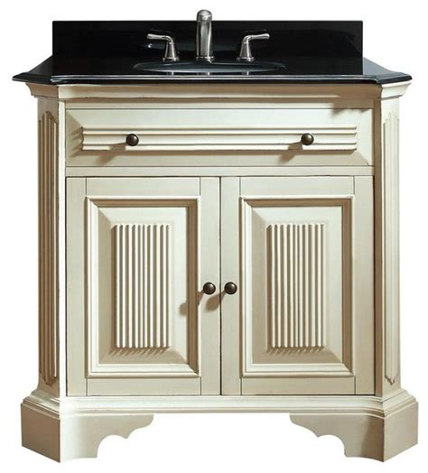 vanity set in distressed white finish traditional