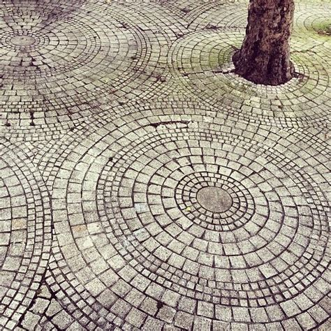 stone walkway around the few decorative trees perfect for mowing single circle and don t