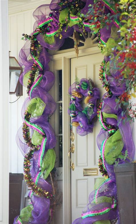 mardi gras home decor deco mesh garland gorgeous ribbon wreath designs pinterest