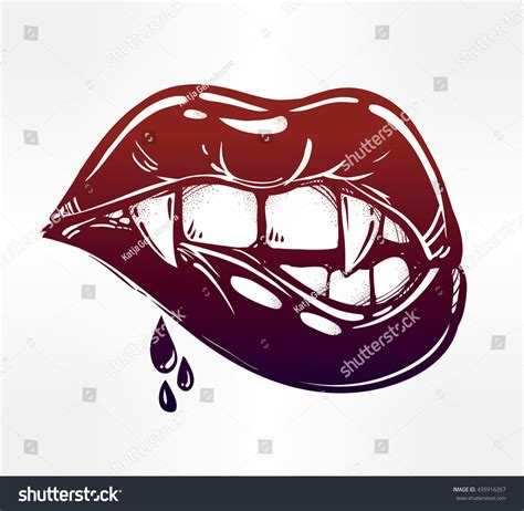 vampire biting lips pop art stock vector 435916267