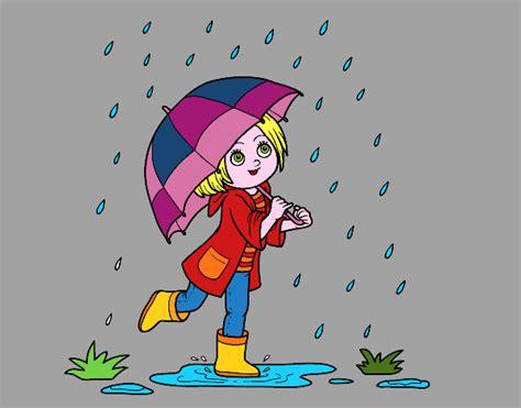imagenes de invierno con lluvia dibujo de ni 241 a con paraguas bajo la lluvia pintado por
