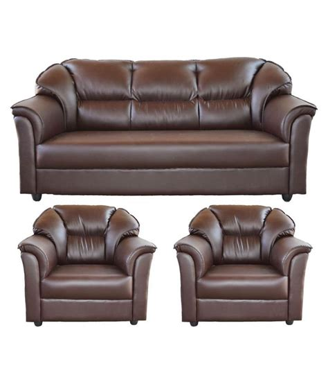 sofa set india online westido manhattan 3 1 1 sofa set in brown leatherette
