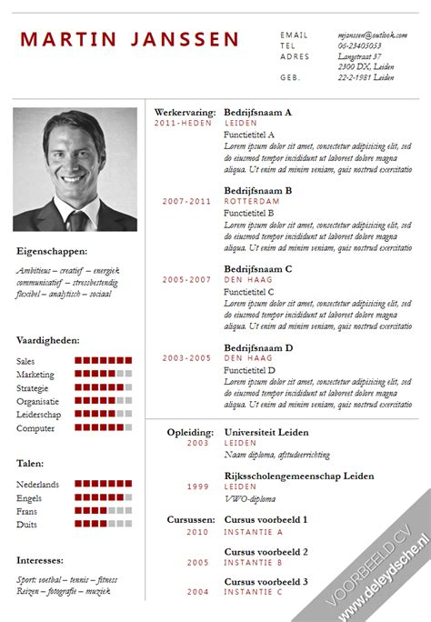 cv voorbeeld design cv format word nederlands image collections certificate