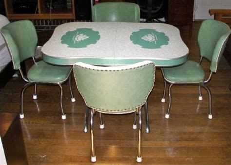 vintage kitchen formica chrome table 4 chairs teal