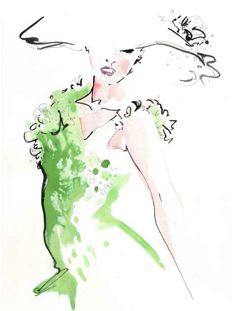 fashion illustration for sale jax barrett emerald sequinned dress fashion illustration giclee print artists